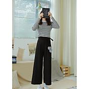 Mujer Casual Tiro Medio Microelástico Perneras anchas Pantalones,Un Color Todas las Temporadas