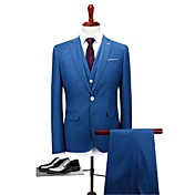 Azul Estándar Poliéster Traje - Solapa de Muesca Recto 1 botón