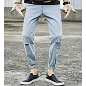 メンズ シンプル ミッドライズ パンツ 伸縮性なし パンツ パンツ ソリッド