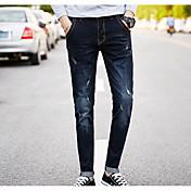 Hombre Simple Tiro Medio Microelástico Vaqueros Pantalones,Un Color Otoño