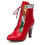 Mujer-Tacón Robusto-Botas a la Moda-Botas-Oficina y Trabajo Vestido Informal-Semicuero-Negro Rojo Blanco