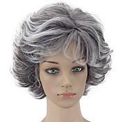 Pelucas sintéticas Rizado Corte a capas Pelo sintético Gris Peluca Mujer Corta Peluca natural Sin Tapa