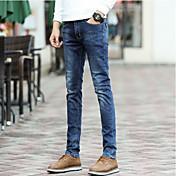 Hombre Simple Vintage Tiro Medio Microelástico Vaqueros Pantalones,Un Color Invierno Otoño