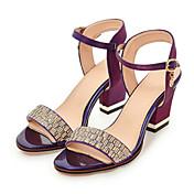 Mujer Zapatos PU Primavera / Otoño Confort / Innovador Sandalias Tacón Cuadrado Puntera abierta Pedrería / Hebilla Beige / Morado / Rojo