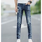 Hombre Simple Tiro Medio Microelástico Vaqueros Chinos Pantalones,Un Color Otoño