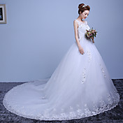 Salón Catedral Encaje Satén Tul Vestido de novia con Encaje por QQC Bridal