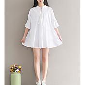 Mujer Línea A Vestido Casual/Diario Simple,Un Color Escote Redondo Mini La mitad de manga Poliéster Invierno Otoño Media cintura Rígido