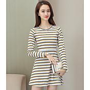 Mujer Línea A Vestido Casual/Diario Simple,Bloques Escote Redondo Sobre la rodilla Mangas largas Algodón Primavera Otoño Tiro Medio
