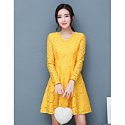 Mujer Línea A Vaina Vestido Noche Simple,Un Color Escote en Pico Sobre la rodilla Mangas largas Algodón Primavera Otoño Tiro Medio