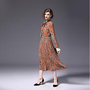 女性用 シフォン ドレス - プリーツ, フラワー