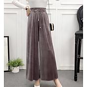 Mujer Tiro Alto Perneras anchas Pantalones - Un Color