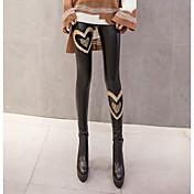 Mujer Grueso Sólido Poliéster Con Forro Legging,Negro