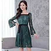 Mujer Vaina Vestido Diario Casual,Un Color Sin Tirantes Hasta la Rodilla Mangas largas Algodón Primavera Otoño Tiro Medio Microelástico