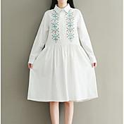 Mujer Corte Ancho Vestido Noche Simple,Estampado Bloques Escote Cuadrado Midi Mangas largas Algodón Primavera Otoño Tiro Medio