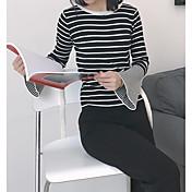 Mujer Corto Pullover Diario A Rayas Escote Redondo Manga Larga Poliéster Otoño Opaco Microelástico