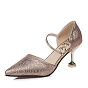 Mujer Zapatos Satén Elástico Verano Confort Sandalias Tacón Bajo Dedo redondo Lentejuela Para Casual Dorado Negro Plata