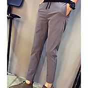 Hombre Casual Tiro Medio Microelástico Ajustado Pantalones, Un Color Nailon Licra Primavera Verano