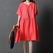 Mujer Corte Ancho Vestido Casual/Diario Simple,Un Color Escote Redondo Sobre la rodilla Mangas cortas Algodón Primavera Otoño Tiro Medio