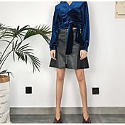 Mujer Simple Festivos Trabajo Sobre la Rodilla Faldas,Línea A Poliuretano Invierno Primavera/Otoño Un Color