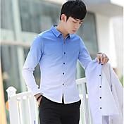 メンズ 日常 オールシーズン シャツ,カジュアル シャツカラー カラーブロック ポリエステル 長袖