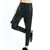 Mujer Simple Tiro Medio Microelástico Chinos Pantalones,Un Color Otoño