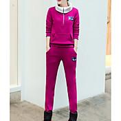 Mujer Simple Deportes Invierno Sudadera Pantalón Trajes,Cuello Alto Un Color Manga Larga Algodón