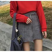 Mujer Simple Vintage Festivos Trabajo Sobre la Rodilla Faldas,Línea A Otro Invierno Primavera/Otoño Un Color