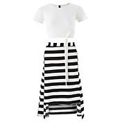 女性用 Tシャツ ストライプ スカート