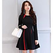 Mujer Línea A Vestido Casual/Diario Vintage,Bloques Escote Redondo Sobre la rodilla Mangas largas Algodón Primavera Otoño Tiro Medio