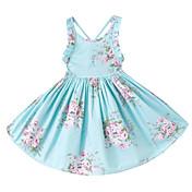 Vestido Chica de Diario Festivos Un Color Floral Algodón Sin Mangas Verano Bonito Casual Boho Rosa Azul claro