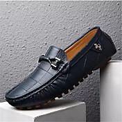 Hombre Mocasín Cuero de Cerdo Primavera / Otoño Zapatos de taco bajo y Slip-On Paseo Negro / Naranja / Azul Marino / Borla