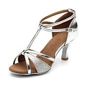 Mujer Zapatos de Baile Latino Brillantina / Semicuero Sandalia / Tacones Alto Hebilla / Lentejuela Tacón Cuadrado Personalizables Zapatos