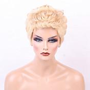 Mujer Pelo humano pelucas sin tapa Negro Azabache castaño medio Rubio Beige // Bleach Blonde Medio Rizado Corte Pixie Corte a capas Con