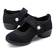 Mujer Zapatillas de Baile Tela / Tul Zapatilla Cristal / Cristal Tacón Cuadrado Personalizables Zapatos de baile Negro