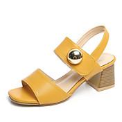 Mujer Zapatos PU Verano Confort Sandalias Tacón Bajo Dedo redondo Negro / Beige / Amarillo / Sandalias de Tacón