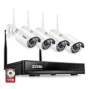 zosi® 4ch 1080p hdmi wifi nvr sistema de seguridad de 2.0mp ir al aire libre cámara de cctv impermeable sistema de vigilancia inalámbrica 1tb hdd