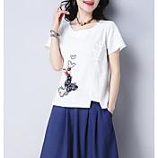 Mujer Algodón / Lino Camiseta Animal