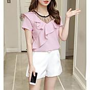 Camisa de algodón para mujer - cuello redondo de color sólido