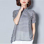 Mujer Vintage Borla Camiseta A Rayas Blanco y Negro