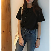Mujer Noche Camiseta, Cuello Camisero Un Color