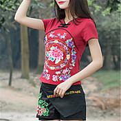 Mujer Camisa, Escote en Pico Cuello Barco Floral