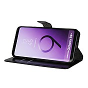 Funda Para Samsung Galaxy S9 S9 Plus Soporte de Coche Cartera Flip Funda de Cuerpo Entero Un Color Dura Cuero de PU para S9 Plus S9 S8