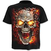 Hombre Calavera Exagerado Estampado Camiseta Bloques Cráneos