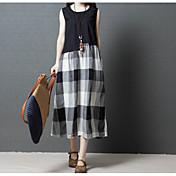 Mujer Corte Swing / Dos Piezas Vestido Bloques Midi