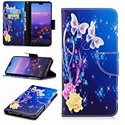 Funda Para Huawei P20 lite P20 Pro Soporte de Coche Cartera con Soporte Flip Diseños Funda de Cuerpo Entero Mariposa Dura Cuero de PU para