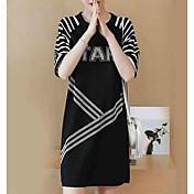 Mujer Camiseta Vestido A Rayas / Letra Sobre la rodilla