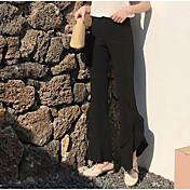Mujer Boho Chinos Pantalones - Cuadrícula Negro y Rojo