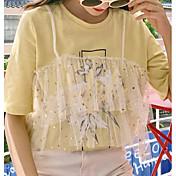 Mujer Básico Camiseta Un Color
