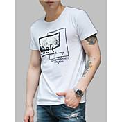 Hombre Estampado Camiseta Un Color / Letra
