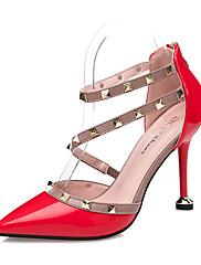 Feminino Saltos Conforto Courino Outono Social Tachas Salto Agulha Branco Preto Cinzento Vermelho Rosa Claro 7,5 a 9,5 cm